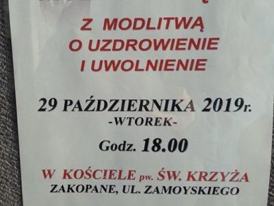 Msza Święta i modlitwa o uzdrowienie i uwolnienie 29.10.2019